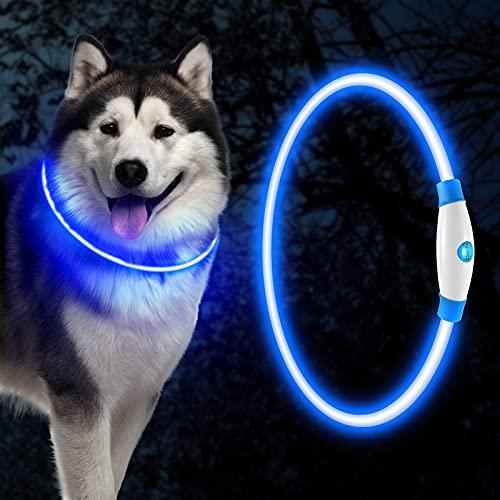 HezzLuv Led Leuchthalsband Für Hunde,Hunde Halsband Blau Hundehalsband Leuchtend USB Wiederaufladbares,Haustier Sicherheit Kragen,Längenverstellbareres,DREI Beleuchtungsmodi,Für Hunde Und Katzen