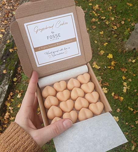 Fosse Living Galletas de pan de jengibre altamente perfumadas de cera de soja, vegana, sin plástico y de larga duración, paquete de 16