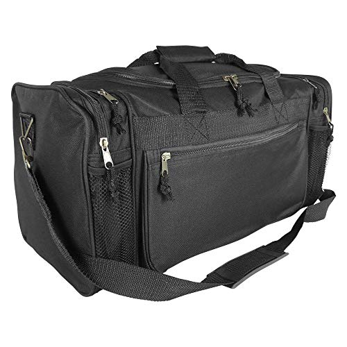 Dalix 20 Inch Sports Duffle Bag with Mesh and Valuables Pockets, Black