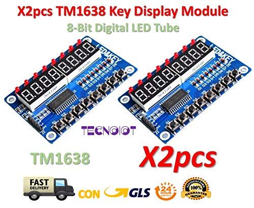 TECNOIOT 2pcs TM1638 Module Key Display 8-Bit Digital LED Tube for AVR Arduino