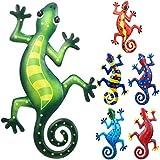 6 Stücke Metall Gecko Wandkunst Dekoration 9 Zoll Eidechse Kunst Wand Inspirierende Skulptur Terrasse Rasen Zaun Dekoration Hängend Indoor Outdoor für Zuhause Schlafzimmer Büro Garten