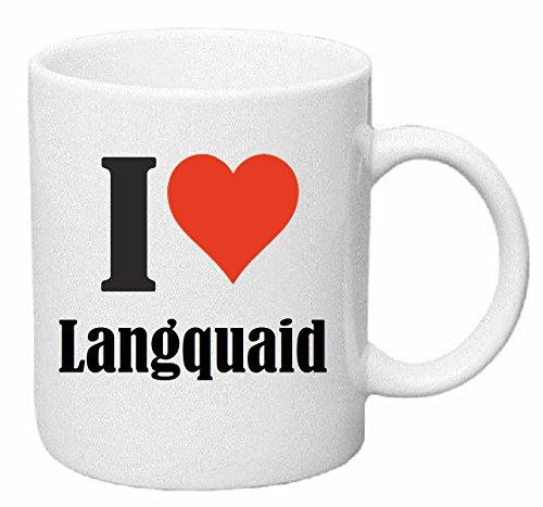 Reifen-Markt Kaffeetasse I Love Langquaid Keramik Höhe 9,5cm ? 8cm in Weiß