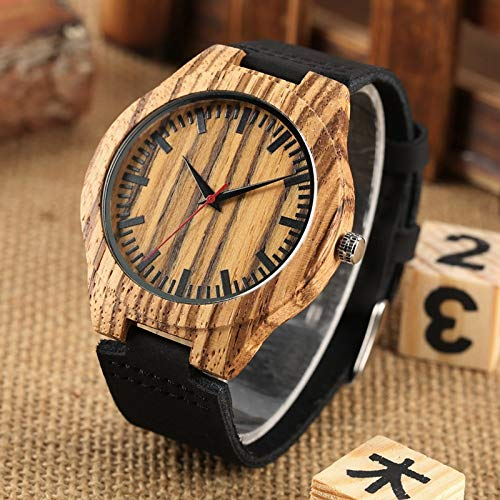 UIOXAIE Reloj de Madera Reloj a Rayas, Reloj de Madera para Hombre, Reloj Negro Simple para Hombre, Reloj de Pulsera de Cuarzo con Banda de Cuero Genuinopara Hombre,Reloj deHora,