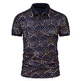 Camisa de verano para hombre, de Star Chain Bronzing Print, camisa polo de manga corta con solapas, corte ajustado, para tiempo libre F_Marine XL