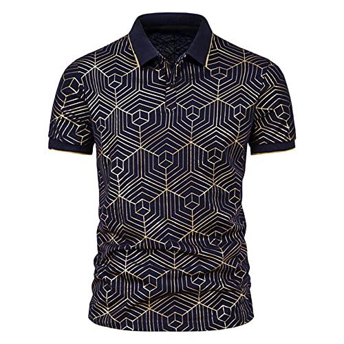 Top Camicette Camicie Uomo Estate Cielo Stampa abbronzante Maglietta con Risvolto a Maniche Corte (XXL,6marina Militare)