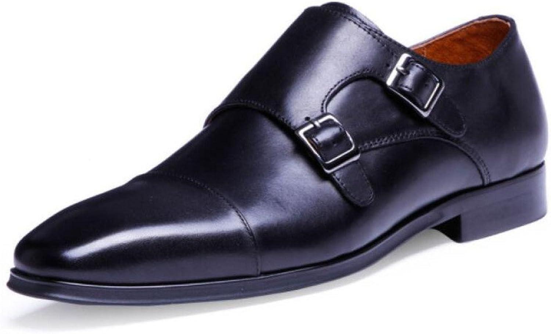 DHFUD Chaussures en Cuir pour Hommes à Boucle De Printemps