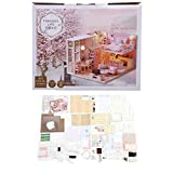 HDHUIXS Sabio Dollhouse Kit, arbolado 1/24 Miniatura de la casa de muñecas de luz LED Muebles casa de muñecas DIY Kit Adulto Regalo Niños Imaginativo