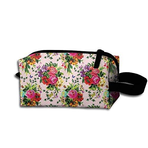 Travel Makeup Floral Pop Pink Beautiful Waterproof Cosmetic Bag Quick Makeup Bag Pencil Case