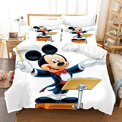 QWAS Mickey Minnie-Funda nórdica de Mickey Mouse,funda nórdica de microfibra,ropa de cama infantil(A2-135x200cm+80x80cmx2)