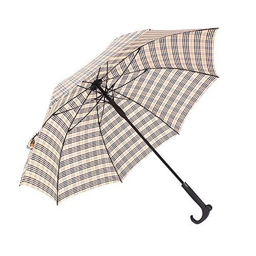 Old Man Crutches Umbrella Verstärken Long Handle Umbrella Multifunktionale Anti-Rutsch-Plaid-Regenschirm - Für Bergsteigen, Reisen, Urlaub