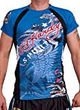 Ed Hardy Mens Eagle Mesh Crew Tee Top - Blue - Small