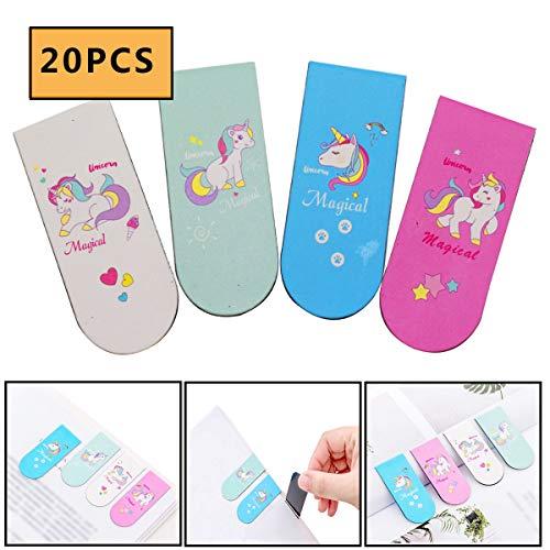 Segnalibri Magnetici,OSUTER 20PCS Segnalibri Set Unicorno Creativi Magnetic Bookmark per Scuola Ufficio Cancelleria Accessori
