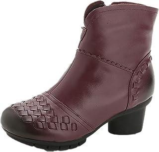 LingGT Comfort Boots Women Block Leather Vintage Zipper Shoes (Color : Purple, Size : AU 4.5)