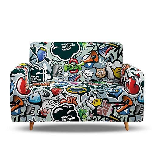 Tanboank Sofabezug 1 2 3 4 Sitzer Sofa Graues Graffiti Sofa Hussen Stretch Sofa überzug Ecksofa Stretch Sofahusse Couch Cover I Form Sofaüberwurf L Form 145-185 cm