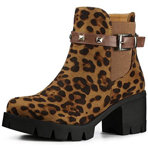 Allegra K Women's Lug Sole Chunky Heels Ankle Leopard Combat Boots - 6 M US