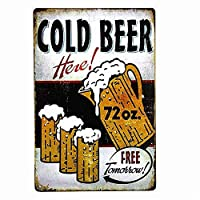 冷たいビールは明日無料 メタルポスタレトロなポスタ安全標識壁パネル ティンサイン注意看板壁掛けプレート警告サイン絵図ショップ食料品ショッピングモールパーキングバークラブカフェレストラントイレ公共の場ギフト