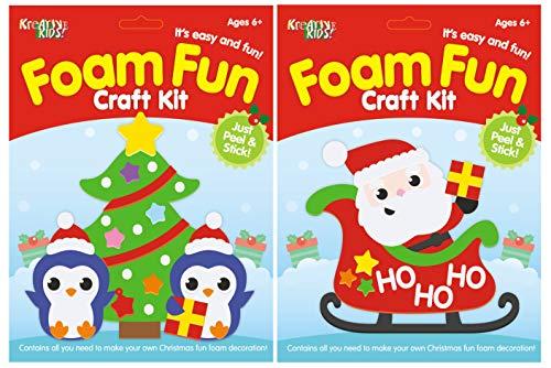 KandyToys TY4377 Bastelset für Kinder – Erstellen Sie Ihre eigenen Schaumstoff-Weihnachtsdekorationen – 2 verschiedene Designs, multi, Einheitsgröße
