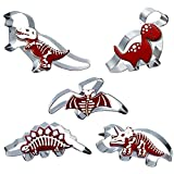 Bonropin Large Size Dinosaur Cookie Cutters Set - 5 Piece Stainless Steel Cutters Molds Cutters for Making , Triceratops, Tyrannosaurus, Spinosaurus, Pterodactyl,Dinosaur Baby.