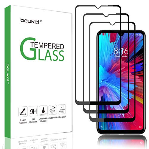 (3 Pack) Beukei Compatible for Xiaomi Redmi Note 8 Pro Tempered Glass Screen Protector (6.53 inches), Glass with 9H Hardness, with Lifetime Replacement Warranty,(Not Fit for Redmi Note 8/Redmi 8)