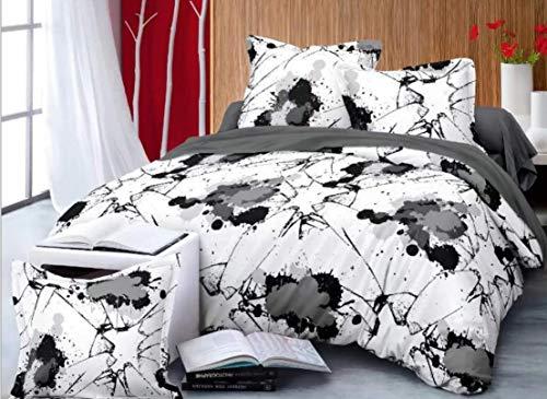 HDBUJ dekbedovertrek van zachte vezels, anti-rimpel, bedrukt met witte en zwarte inkt, twee bijpassende kussenslopen