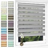 Doppelrollo klemmfix ohne Bohren Duo Rollo für Fenster,lichtdurchlässig & verdunkelnd Wandmontage Sichtschutz, 40 x 120 cm(BxH) Grau