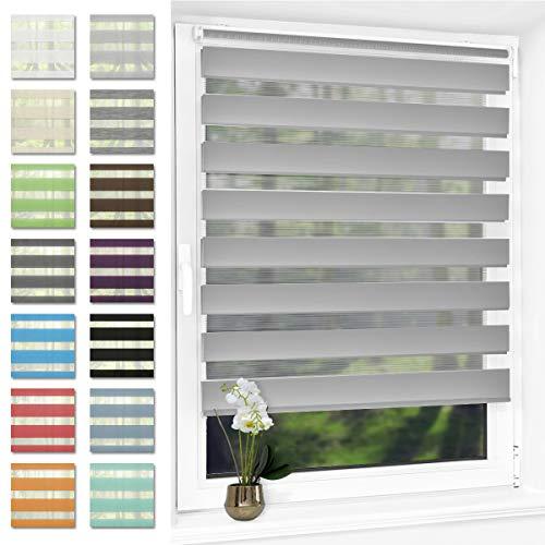 Doppelrollo klemmfix Duo Rollo ohne Bohren,Rollos für Fenster und Tür,lichtdurchlässig und verdunkelnd 95 x 120 cm(BxH) Grau