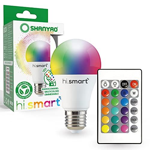 Shanyao - 1 Lampadina A60 LED Hi.Smart attacco E27 10W RGB regolabile con Telecomando