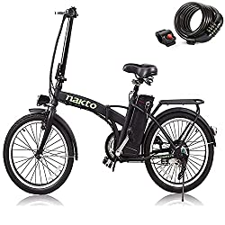 commercial nakto 20 ″ / 26 ″ 250W Folding / City Electric Bicycle with Assist System Electric Bicycle Sports Mountain Bike… folding electric bikes