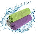 PUZXRRY Cooling Towels for Nack- 3 Pack Soft Ice Cold Yoga Camping Towels Ice Cold Towels(51'x12'), Gray/Green/Purple