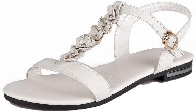 WeenFashion Women's Open Toe Low-Heels Pu Solid Sandals, White, 35