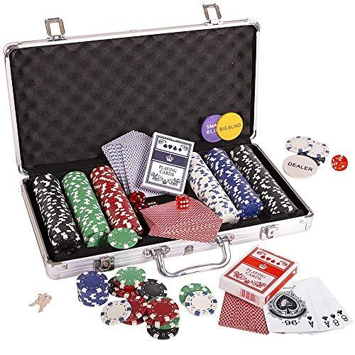 Ouqian Pokerkoffer Spielchips Poker Set Würfel Spielkarten Set Chip Würfel Stil Poker-Satz mit Fall Poker Set 300pc 11.5g für Familienspiel (Farbe : Silver, Size : 39×24×8 cm)
