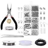 Jewelry Making Kit, Comius Sharp Joyería Herramientas de Reparación de Joyas para Hacer y Reparar Collares y Pulseras y Pendientes Accesorios (Silver)