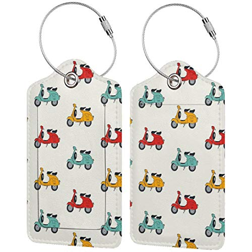 Luggage Tags Retro Vespa Leather Suitcase Labels Bag Travel Baggage Bag with Privacy Cover 2 Pcs Set