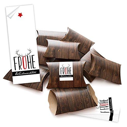 50piccolo regalo scatole regalo scatole di cartone marrone (14,5X 10,5+ 3cm altezza) con adesivo fascetta Buon Natale nero rosso grigio corno di renna; da sè Fai da te e riempimento;