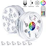 LOFTEK Submersible LED Lights with Magnets, Suction Cups, 13 LED Waterproof Underwater Led Lights with Remote RF, Battery Operated Decoration Light for Pool,Pond,Centerpieces,Foundation,Vase (2 Packs)