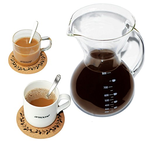 Ansoon Pour Over Coffee Maker, Pour Over Coffer Dripper and Coffee Scoop Set, Coffee Glass Filter Pot, French Press with Permanent Stainless Steel Mesh Filter (800 ml / 27 oz, 2-5 + cups)