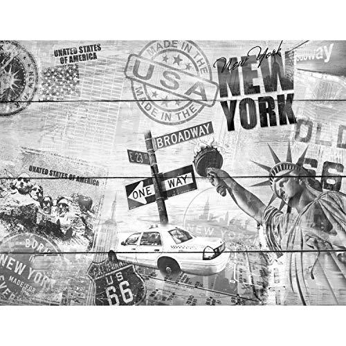 Fototapete Holzoptik New York USA 352 x 250 cm Vlies Tapeten Wandtapete XXL Moderne Wanddeko Wohnzimmer Schlafzimmer Büro Flur Schwarz Weiss 9369011c