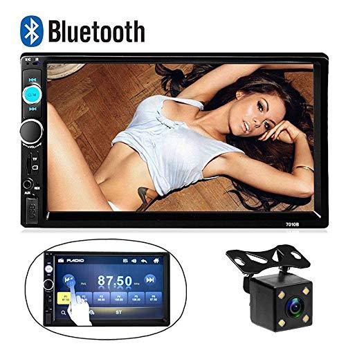 CAMECHO Bluetooth 2 Din Autoradio 7010B 17,8 cm HD Touch Audio Stereo Radio Unterstützung USB/TF/AUX Eingang Android Telefon Spiegelverbindung Autoradio FM Multimedia MP5-Player + Sicherungskamera