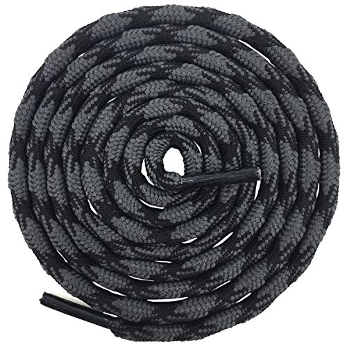 DELELE 2 Pair Round Wave Non-slip Antiskid Outdoor Mountaineering Climbing Shoe Laces Dark Gray&Black Hiking Shoelaces Men Women Shoestrings-62.99'