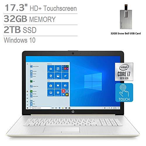 "2020 HP Pavilion 17.3"" HD+ Touchscreen Laptop Computer, Intel Core i7-1065G7, 32GB RAM, 2TB PCIe SSD, Backlit Keyboard, HD Audio, HD Webcam, Intel Iris Plus Graphics, Windows 10, Gold, 32GB USB Card"