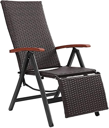 FIXKIT Klappbarer Gartenstuhl aus Rattan, 7-stufige verstellbare Liege, Outdoor-Klappstuhl mit Breiten Armlehnen, Aluminiumrahmen, geeignet für Garten, Terrasse, Strand (braun)