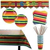 102 piezas Accesorios de Fiesta Set de Decoración y Vajilla para Celebración Pancarta, Platos, Vasos, Servilletas, Mantel y Pajitas 20 Personas