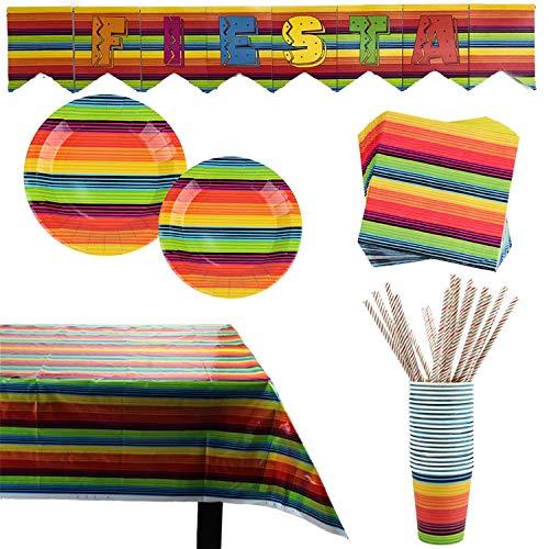 102 piezas Accesorios de Fiesta Set de Decoración y Vajilla para Celebración...