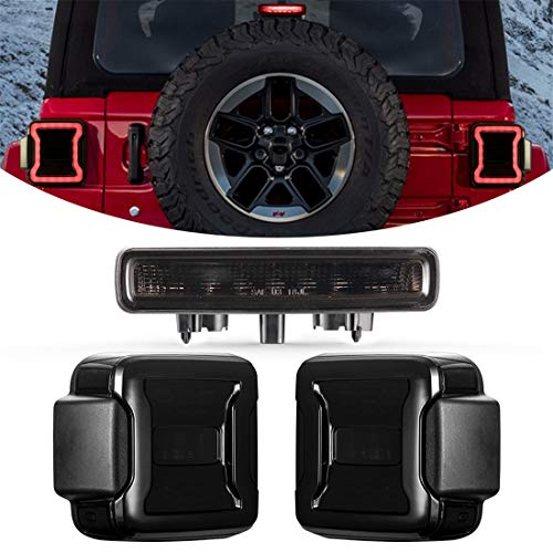 KIWI MASTER Smoked LED Tail Lights & 3rd Brake Light Set for 2018-2020 Jeep Wrangler JL Accessories Third Brake Light High Mount Stop Light Reverse Light Turn Signal Light (Black Housing Smoke Lens)