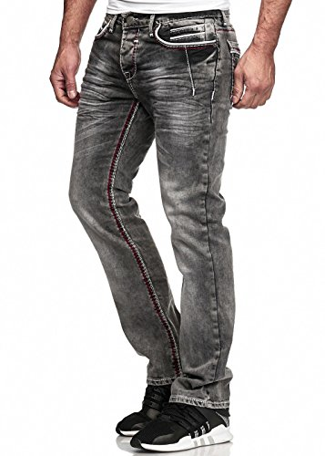 Code47 Herren Jeans Hose Washed Straight Cut Regular Stretch Dark Grey/Blue W29-W38 5056 Dunkelgrau W32 L32