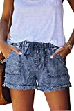 SMENG Womens Summer Cotton Casual Shorts for Women Plus Size Elastic Waist Linen 5 in Pants Pull on Drawstring Ladies Comfy Sleeping Clothes Light Blue XL