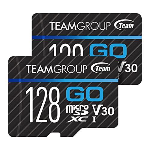 TEAMGROUP Cartão GO 128 GB – Pacote com 2 cartões micro SD para GoPro e câmeras de ação, MicroSDXC UHS-I U3 V30 cartão de memória flash de alta velocidade com adaptador para atividades ao ar livre, esportes, 4K TGUSDX128GU364