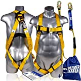 Palmer Safety Fall Protection Safety Harness w/Detachable 6' Single Leg Lanyard I EXTERNAL Shock Absorber Lanyard I OSHA/ANSI Fall Arrest Kit I Ideal for Industrial & Construction Use (Yellow - 1pk)