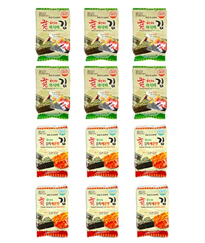 Korean Roasted Seaweed Snack, Nori, Spicy Wasabi and Spicy Kimchi Flavored, 12 Variety Pack (6 Pack of each Flavor), 100% Natural Crispy Premium Healthy Snack