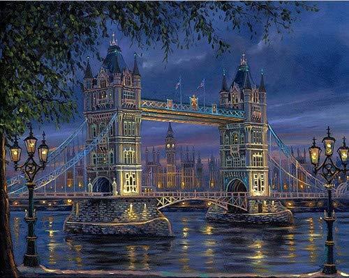 YEESAM ART Neuheiten Malen nach Zahlen Erwachsene Kinder, London Turm Brücke 40x50 cm Leinen Segeltuch, DIY ölgemälde Weihnachten Geschenke